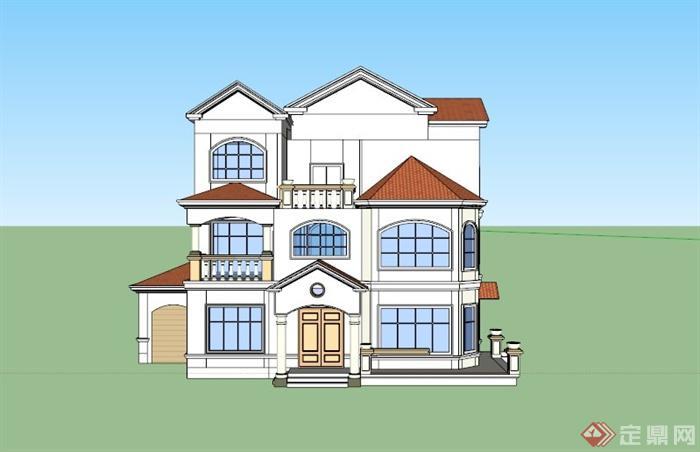 欧式三层农村别墅建筑设计su模型(3)