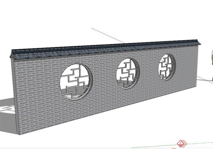 现代中式青砖镂空景墙设计su模型素材(1)