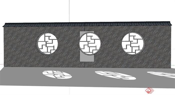 现代中式青砖镂空景墙设计su模型素材(3)