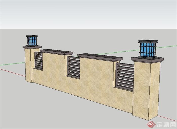 某新古典风格精致喷泉景墙设计su模型(2)图片