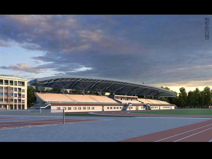 某学校风雨操场体育馆看台建筑施工图设计 含效果图高清图片