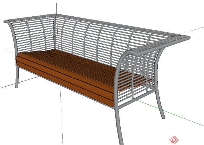 铁艺木质座椅su模型[原创]
