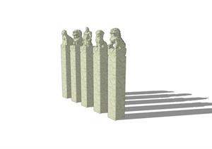 古典中式景观拴马桩设计SU(草图大师)模型