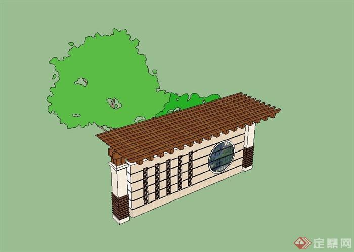 某欧式风格小区入口景墙设计su模型,模型为欧式风格,模型制作完整详细,可直接下载用于小区设计使用,有需要请自行下载使用。