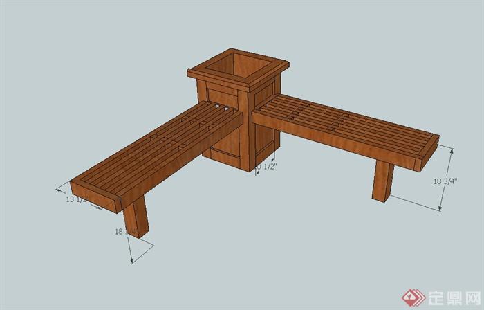 某现代风格木质长条凳设计su模型(1)