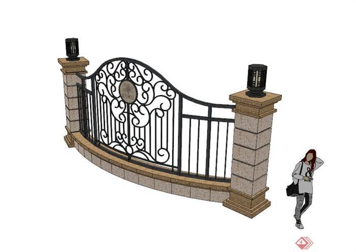欧式铁艺镂空景墙设计su模型(1)