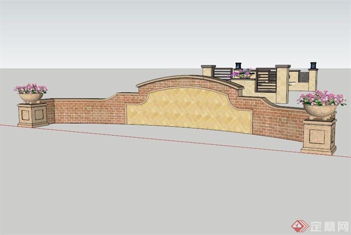 三个简约欧式景墙设计SU模型,该设计风格为欧式设计风格,造型简约,主材为黄色石材,包含三个景墙设计,模型制作美观详细,细节部分制作精致,有材质贴图,具有一定参考使用价值,欢迎下载使用。