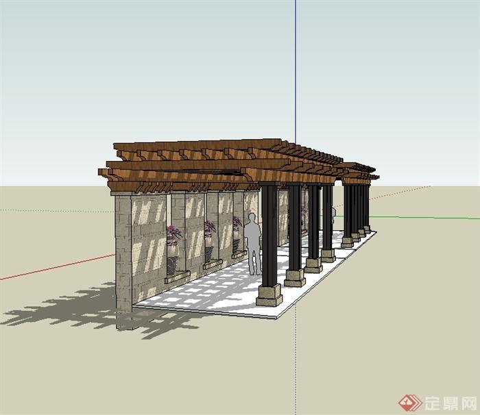 某欧式风格园林景观廊架景墙设计su模型[原创]