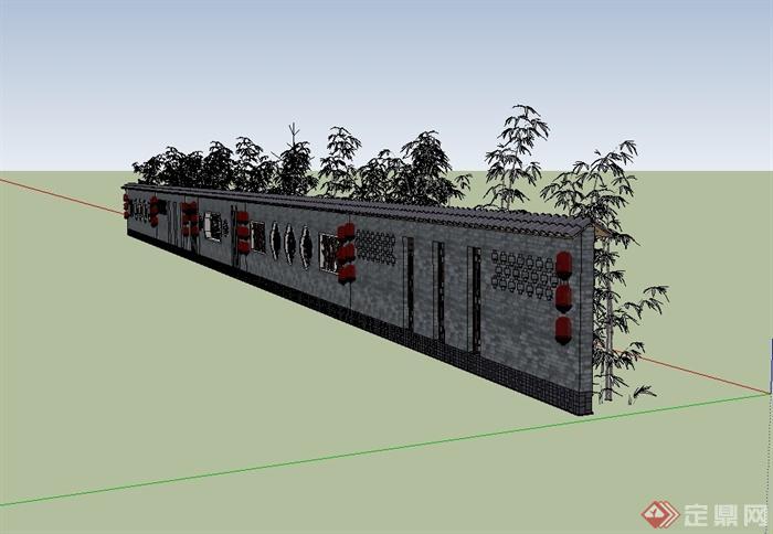 某现代中式风格精致照壁景墙设计su模型[原创]