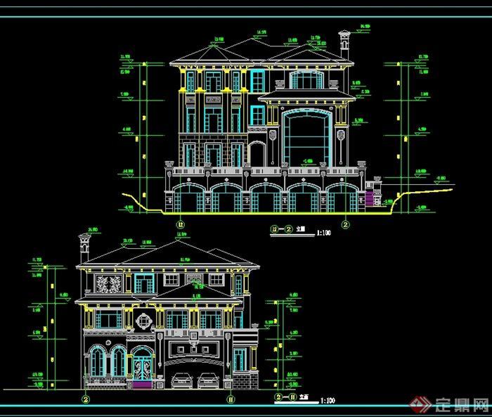 某美式风格别墅建建筑设计cad平立剖方案[原创]