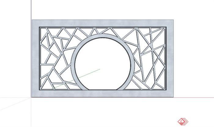 现代中式木制镂空景墙设计su模型