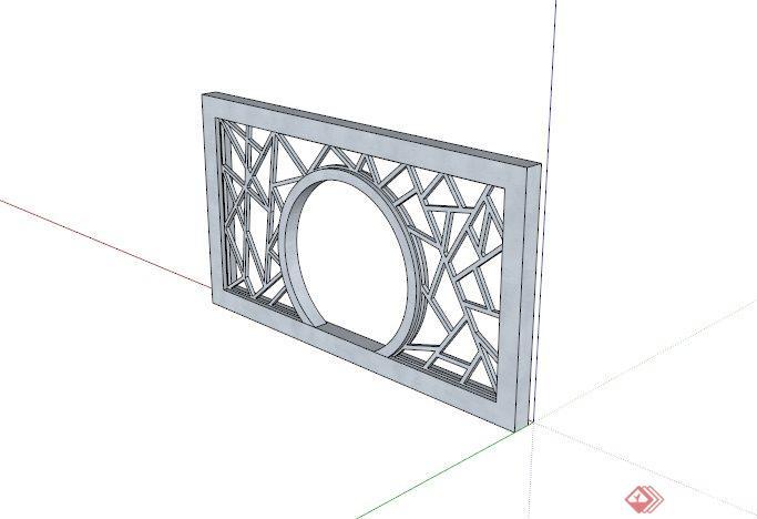 现代中式木制镂空景墙设计su模型[原创]