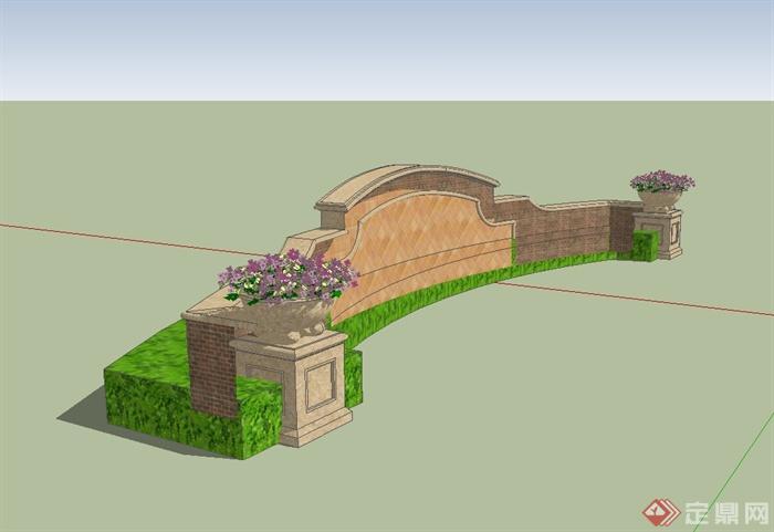 某欧式风格住宅小区景墙设计su模型[原创]