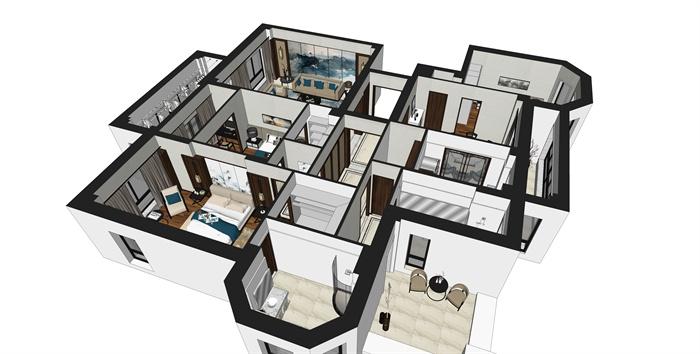 现代简约三室两厅住宅室内设计su模型[原创]