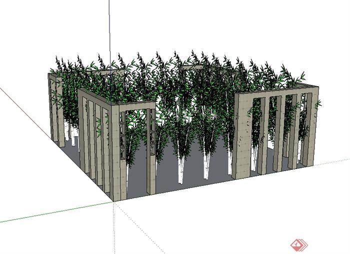 某现代风格栅栏护栏设计su模型[原创]