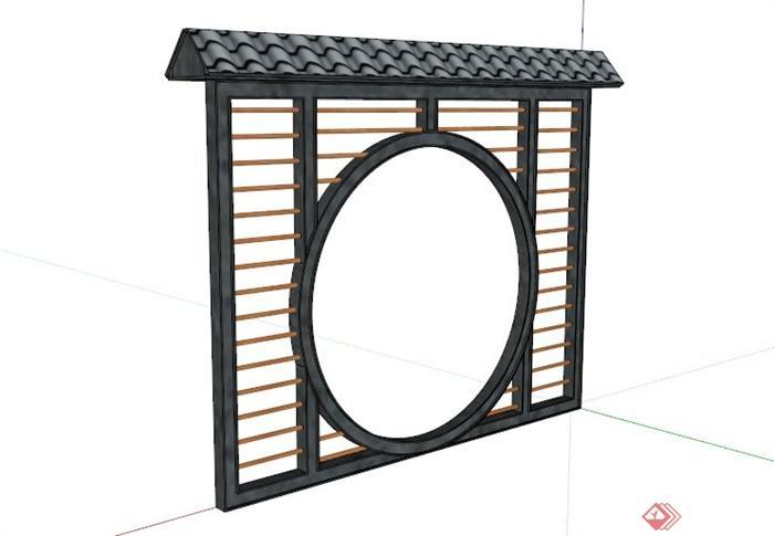 中式镂空景墙设计su模型素材(1)