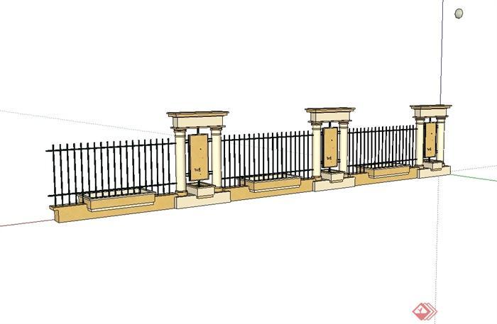 某欧式风格小区围墙栏杆设计su模型[原创]