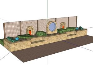 某现代风格围栏、种植池、种植池坐凳组合设计SU(草图大师)模型