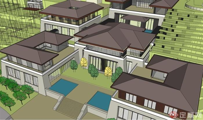 现代中式别墅酒店建筑sketchup草图大师模型(4)图片