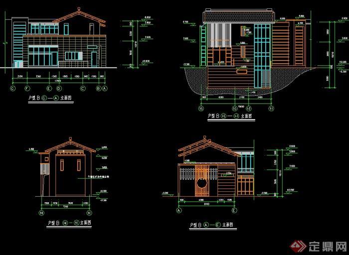 某现代中式风格独栋自建别墅建筑设计cad方案图[原创