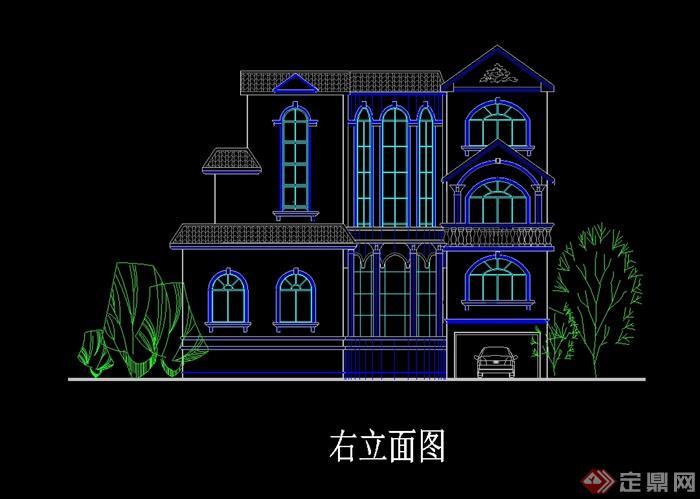 地中海风格三层别墅建筑设计cad方案图图片