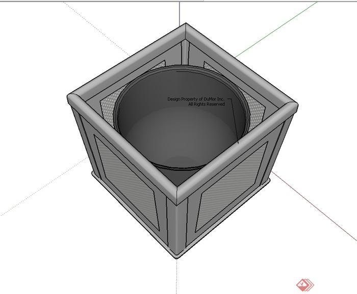 某现代风格精致垃圾桶设计su模型[原创]