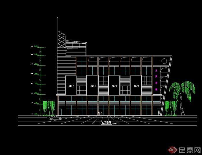 现代风格多层商业楼建筑设计cad方案图[原创]
