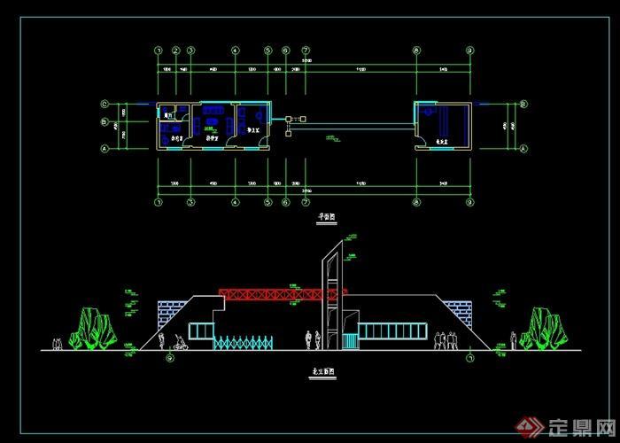 现代风格大门入口及门卫室设计cad方案,图纸包含了平面图以及精致的立面图设计,造型美观,具有一定的使用价值,欢迎下载。