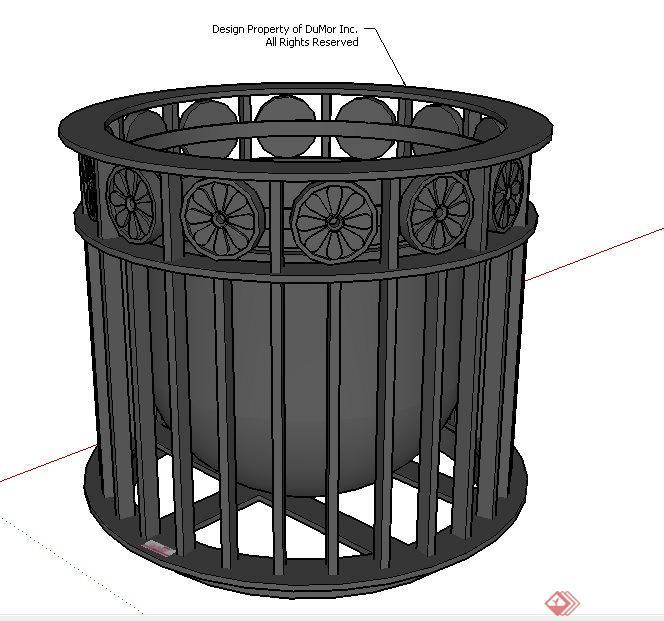 铁质简洁垃圾桶su模型[原创]