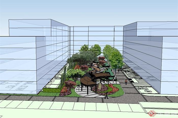 某现代风格办公环境中庭景观设计su模型(3)图片