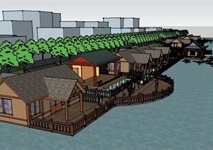 某县临水驳岸旅游建筑设计SU(草图大师)模型