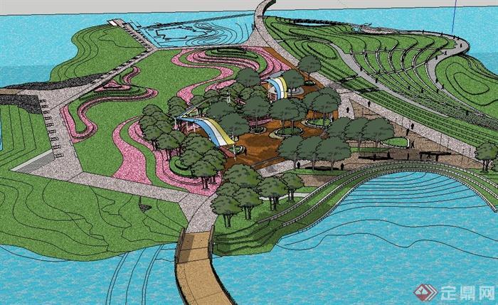 某现代风格滨水休闲公园景观设计su模型(3)