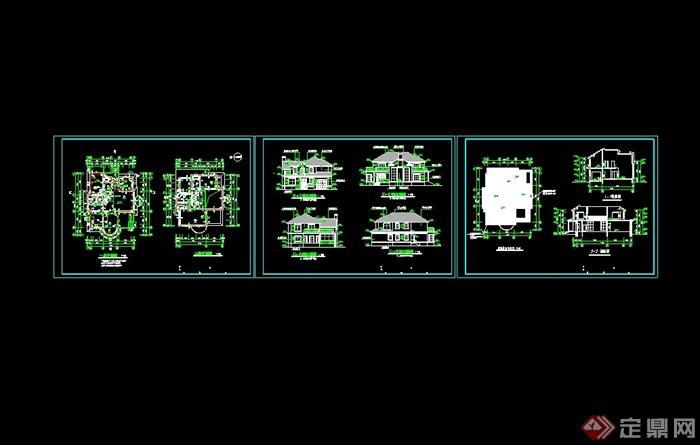 某美式风格别墅建筑设计CAD施工图及效果图