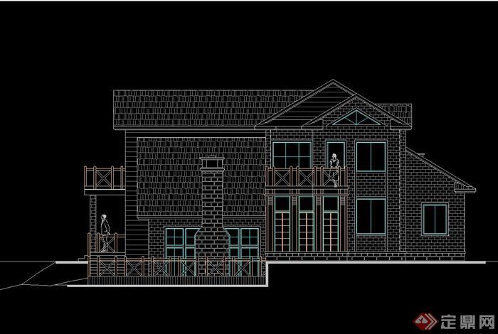 某欧式风格别墅建筑设计cad平立剖方案图[原创]