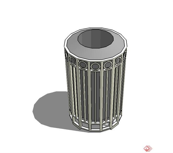 某现代风圆柱垃圾桶设计su模型[原创]