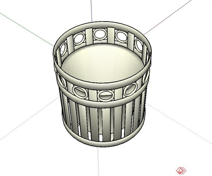 某现代风格圆柱垃圾桶设计su模型[原创]