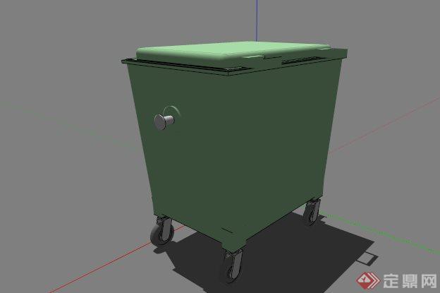 现代常见绿色垃圾桶设计su模型[原创]