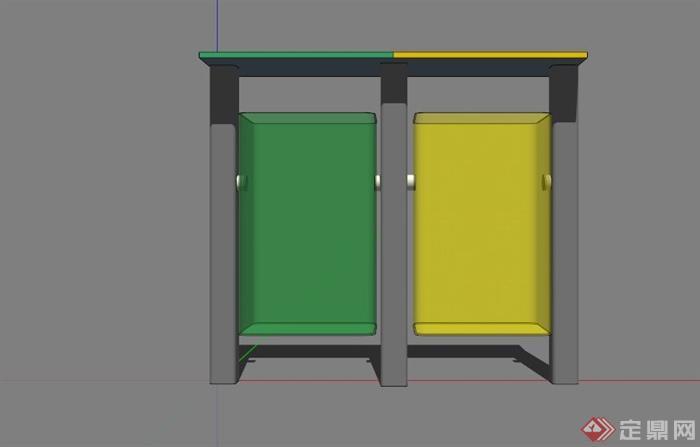 现代黄绿拼接垃圾桶设计su模型[原创]
