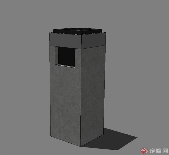 某现代园林景观垃圾桶设计su模型[原创]