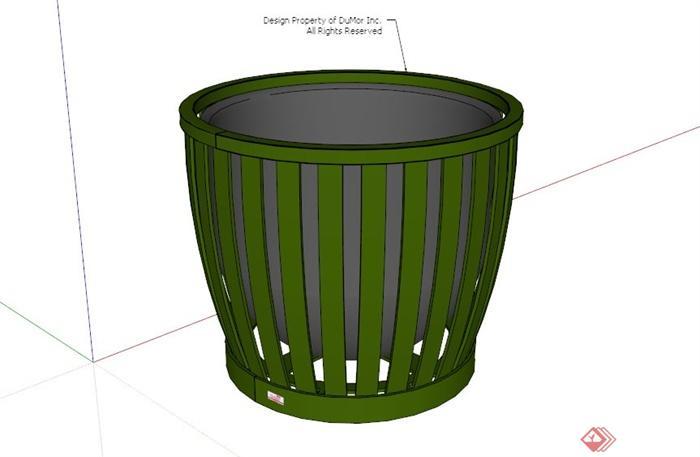 现代木制绿色垃圾桶设计su模型[原创]