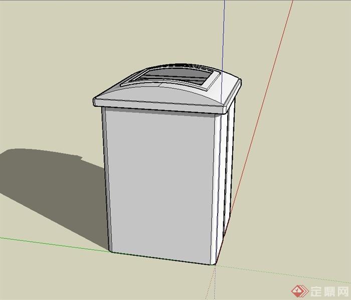 某现代风格路边垃圾桶设计su模型[原创]