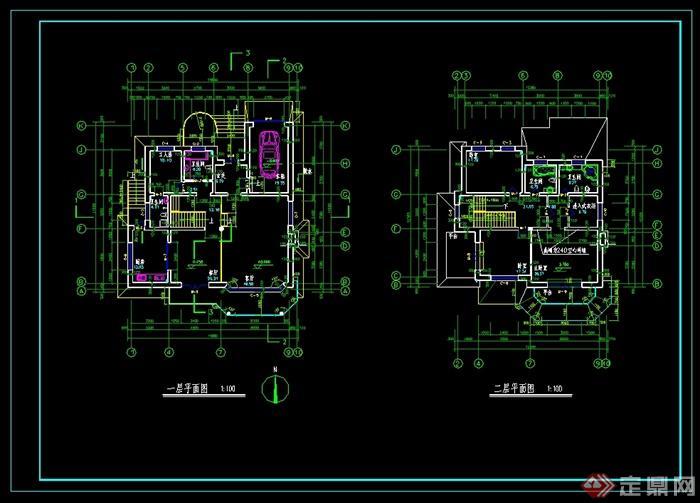 某美式风格别墅建筑设计CAD施工图含效果图