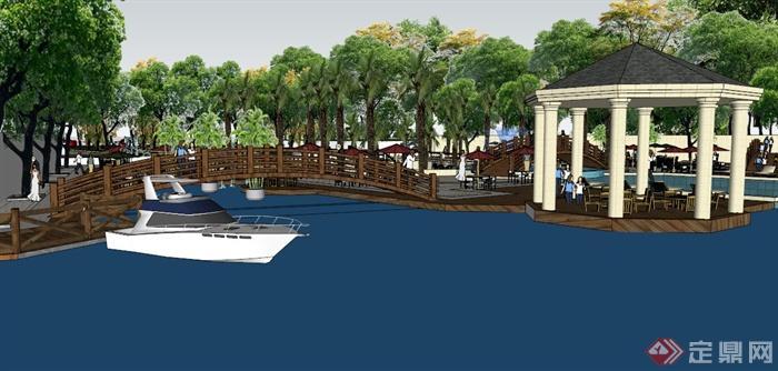欧式滨河景观设计su模型(3)