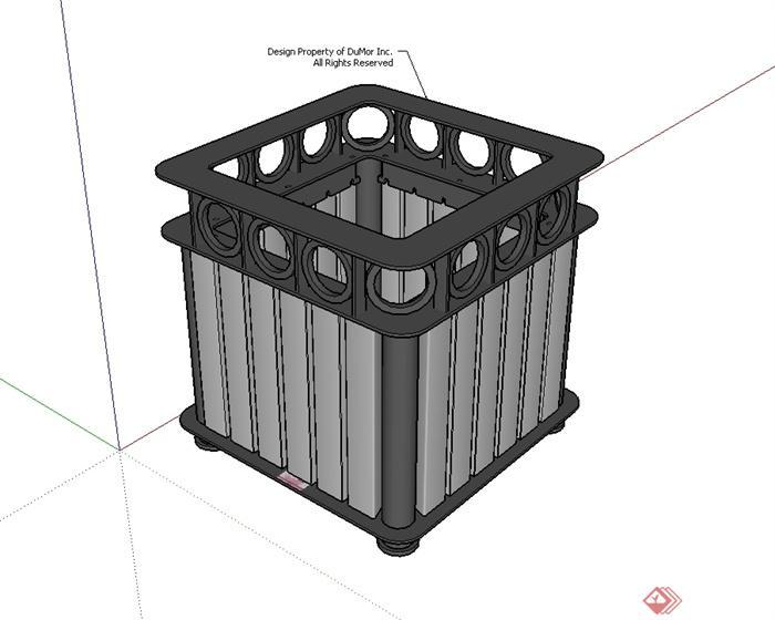 某现代风格园林节点垃圾桶设计su模型[原创]