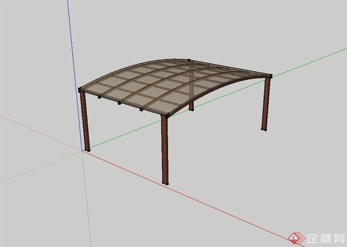 现代风格钢构木质庭院车棚设计su模型