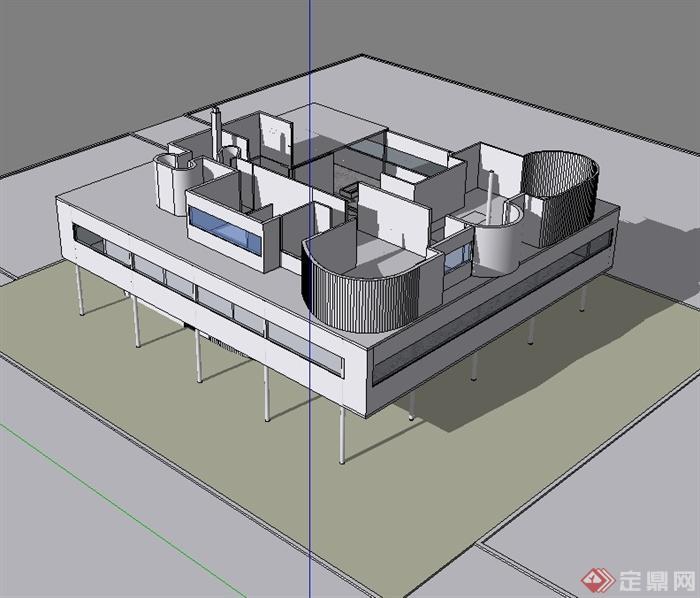 萨伏伊别墅多层建筑设计su原创[建模]别墅大钱多少图片