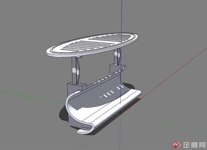 某现代风格休闲廊架坐凳设计su模型[原创]
