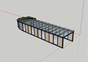 某现代风格车库入口玻璃廊架设计SU(草图大师)模型