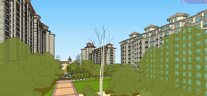某地中海风格商住楼建筑设计su模型图片