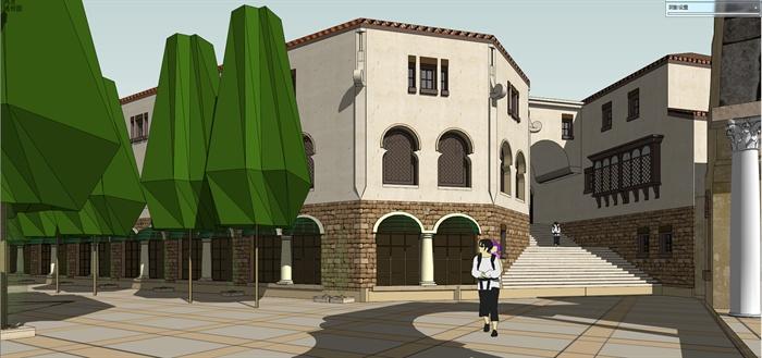 地中海风格社区商业建筑设计su模型图片